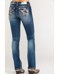 Miss Me Women's Dark Wash Flag Bootcut Jeans, Blue, hi-res
