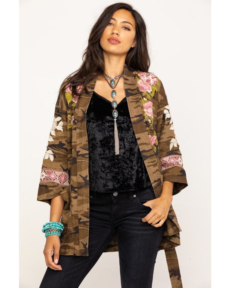 Johnny Was Women's Molly Camo Yuki Trapunto Linen Kimono, Multi, hi-res