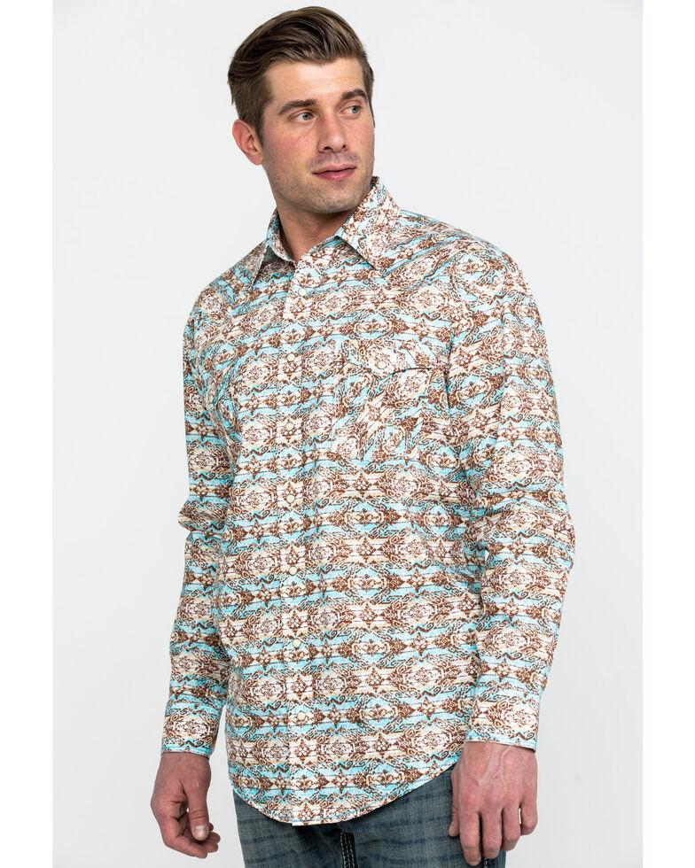 Rough Stock By Panhandle Men's Gerona Aztec Print Long Sleeve Western Shirt , Brown, hi-res