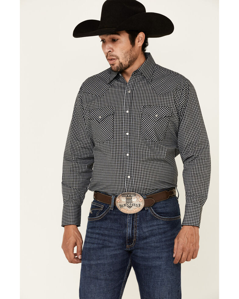 Ely Walker Men's Black Small Check Plaid Long Sleeve Snap Western Shirt , Black, hi-res