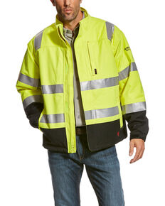 Ariat Men's Yellow FR HI-VIS Waterproof Jacket - Tall , Yellow, hi-res
