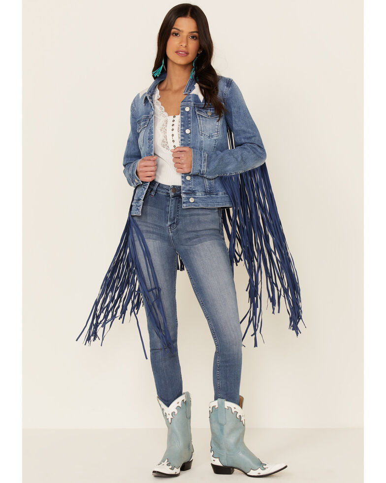 Idyllwind Women's Superstar Fringe Denim Jacket , Medium Blue, hi-res