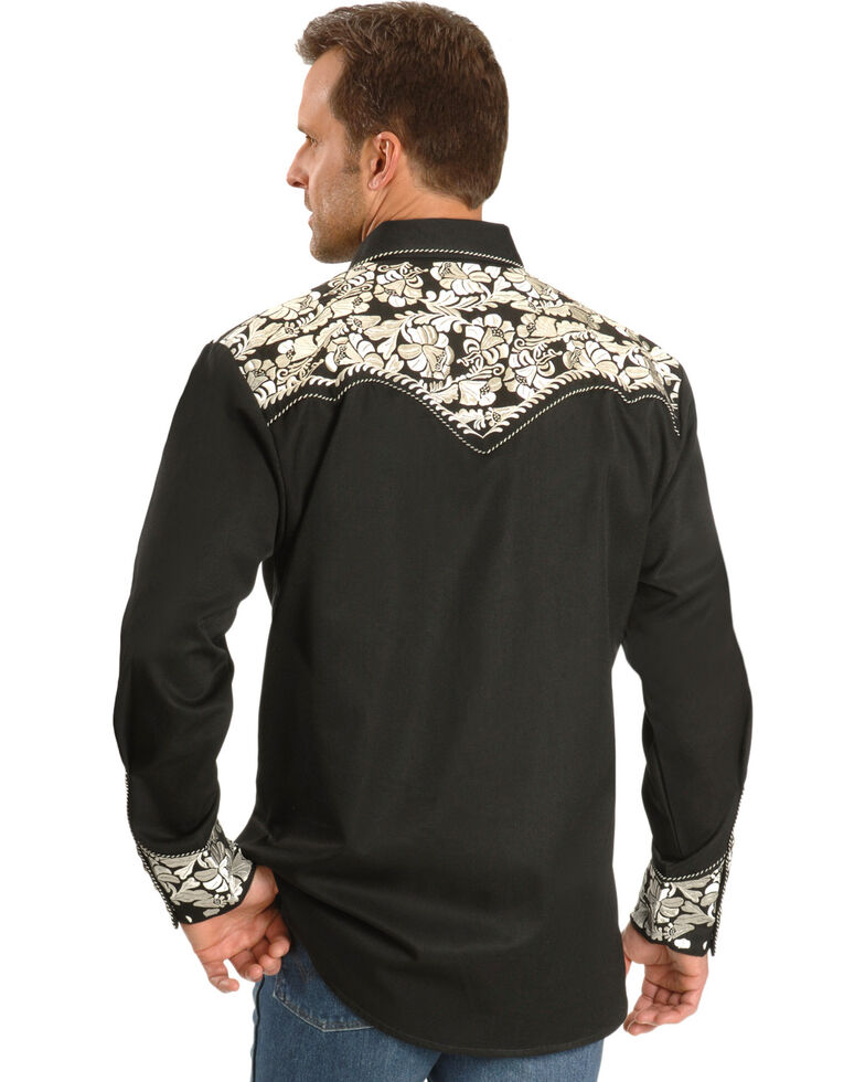 Scully Men's Silver Embroidered Gunfighter Long Sleeve Western Shirt, Silver, hi-res