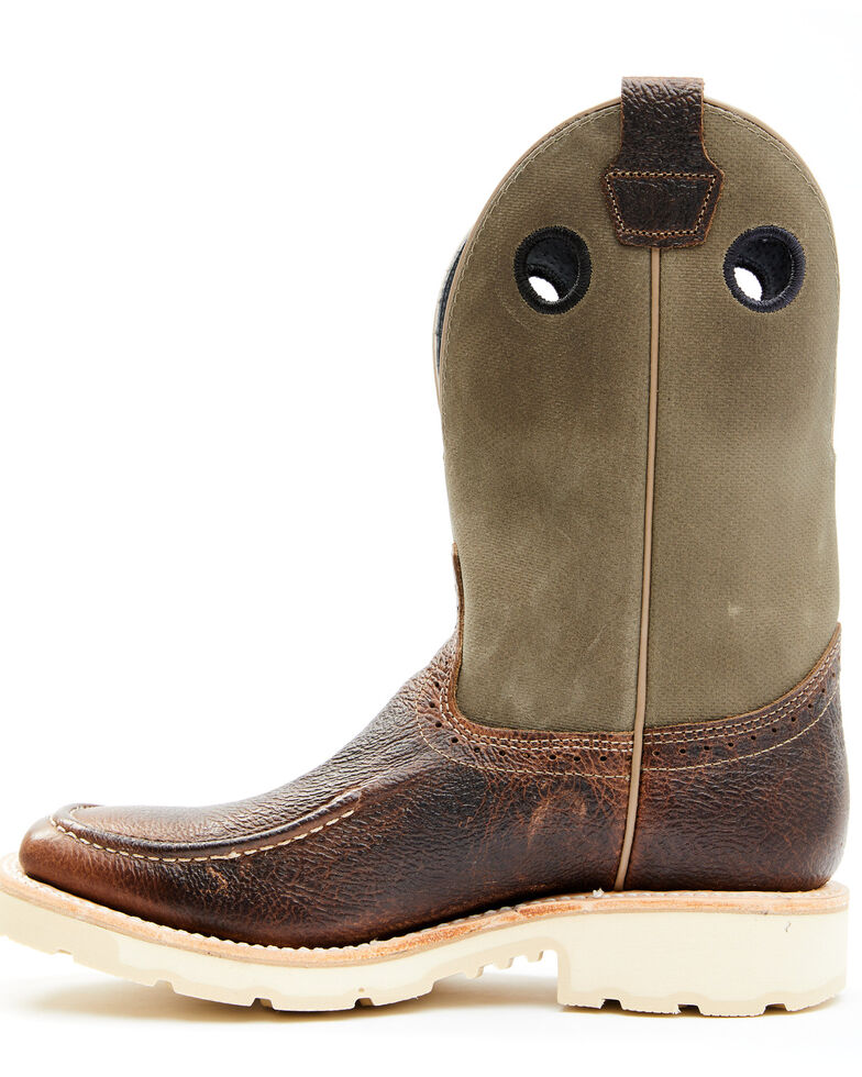 Double H Men's Domestic Roper Western Work Boots - Soft Toe, Brown, hi-res
