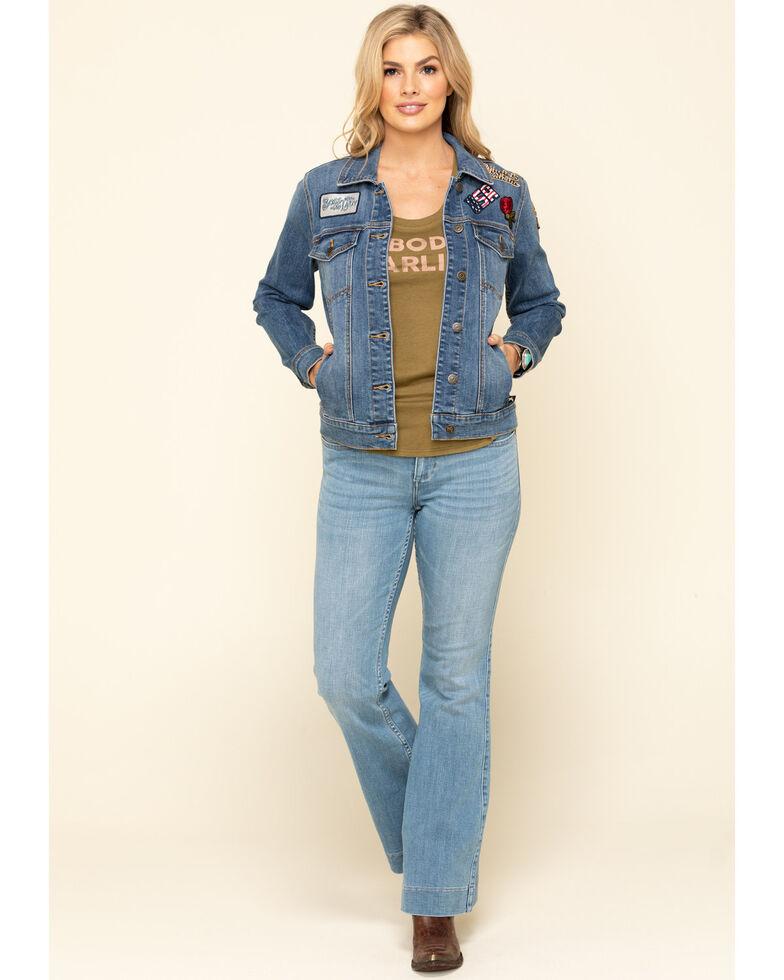 Idyllwind Women's Trucker Patched Denim Jacket, Blue, hi-res