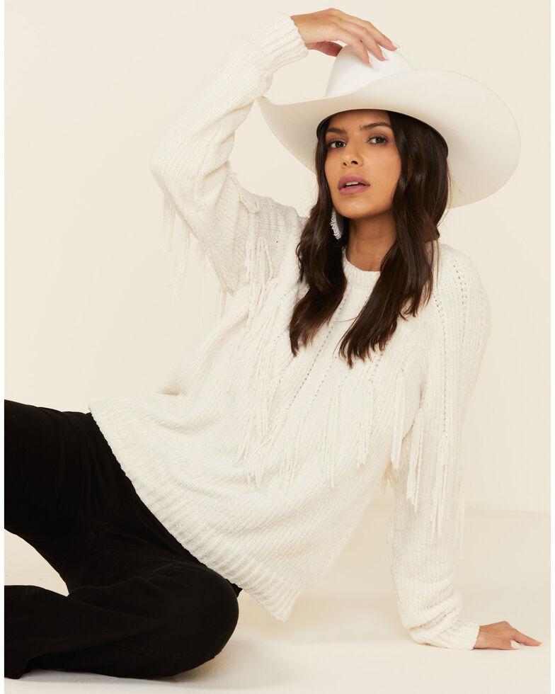 Angie Women's Ivory Fringe Chenille Sweater , Ivory, hi-res