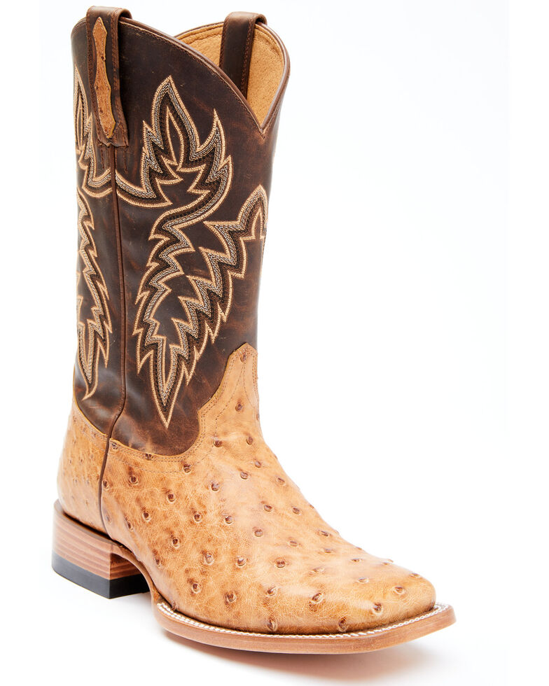 Cody James Men's Serengeti Exotic Ostrich Skin Western Boots - Wide Square Toe, Tan, hi-res