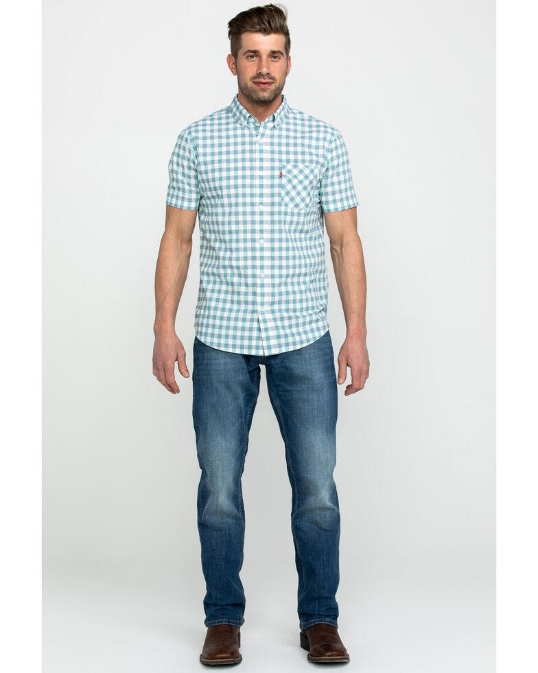 Levis Men's Chester Poplin Check Plaid Short Sleeve Western Shirt , White, hi-res