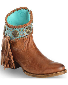 Corral Women's Filigree Booties, Cognac, hi-res