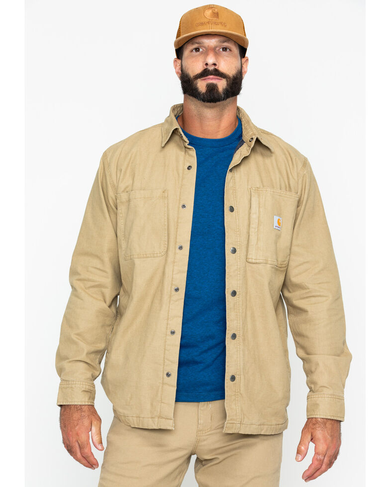 Carhartt Men's Rugged Flex Rigby Shirt Work Jacket - Tall , Beige/khaki, hi-res