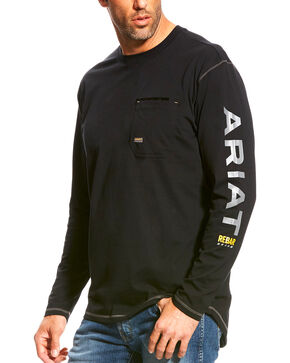 Ariat Men's Rebar Black Long Sleeve Logo Crew T-Shirt, Black, hi-res