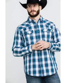 Moonshine Spirit Men's Azul Med Plaid Long Sleeve Western Shirt , Blue, hi-res