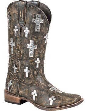 Roper Women's Brown Cross Western Boots, Brown, hi-res