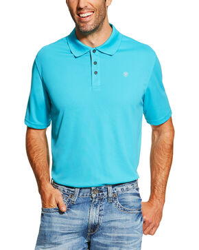 Ariat Men's Short Sleeve Polo, Turquoise, hi-res