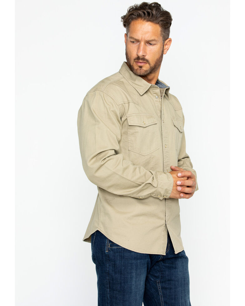 Hawx® Men's Twill Snap Western Work Shirt - Big & Tall , Beige/khaki, hi-res
