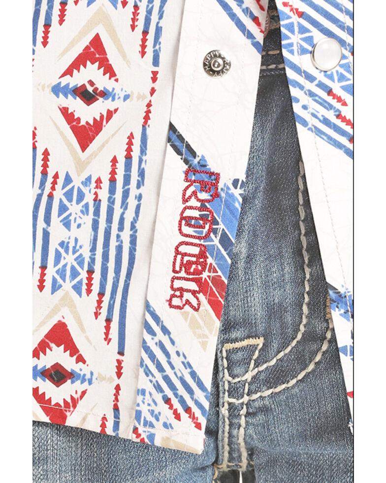 Rock & Roll Cowboy Boys' Blue Poplin Aztec Print Long Sleeve Western Shirt , Blue, hi-res