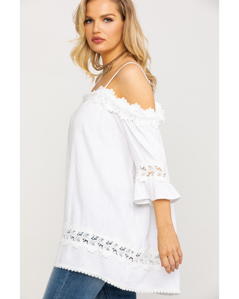 Miss Me Women's White Crochet Cold Shoulder Lace Top, White, hi-res