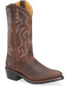 """Double-H Men's 12"""" Steel Toe Western Boots, Brown, hi-res"""