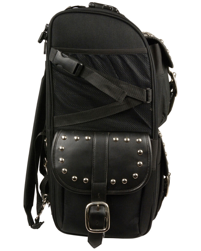 Milwaukee Leather Extra Large Two Piece Studded Nylon Touring Pack, Black, hi-res