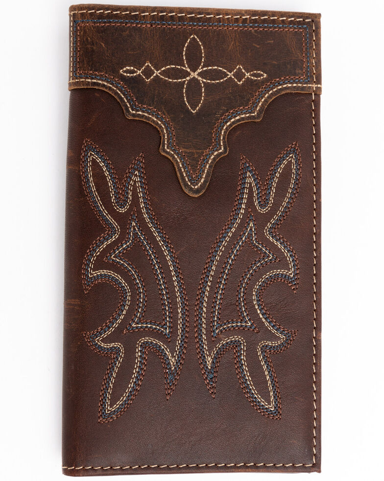 Cody James Men's Brown Rodeo Blue Stitched Leather Wallet , Brown, hi-res