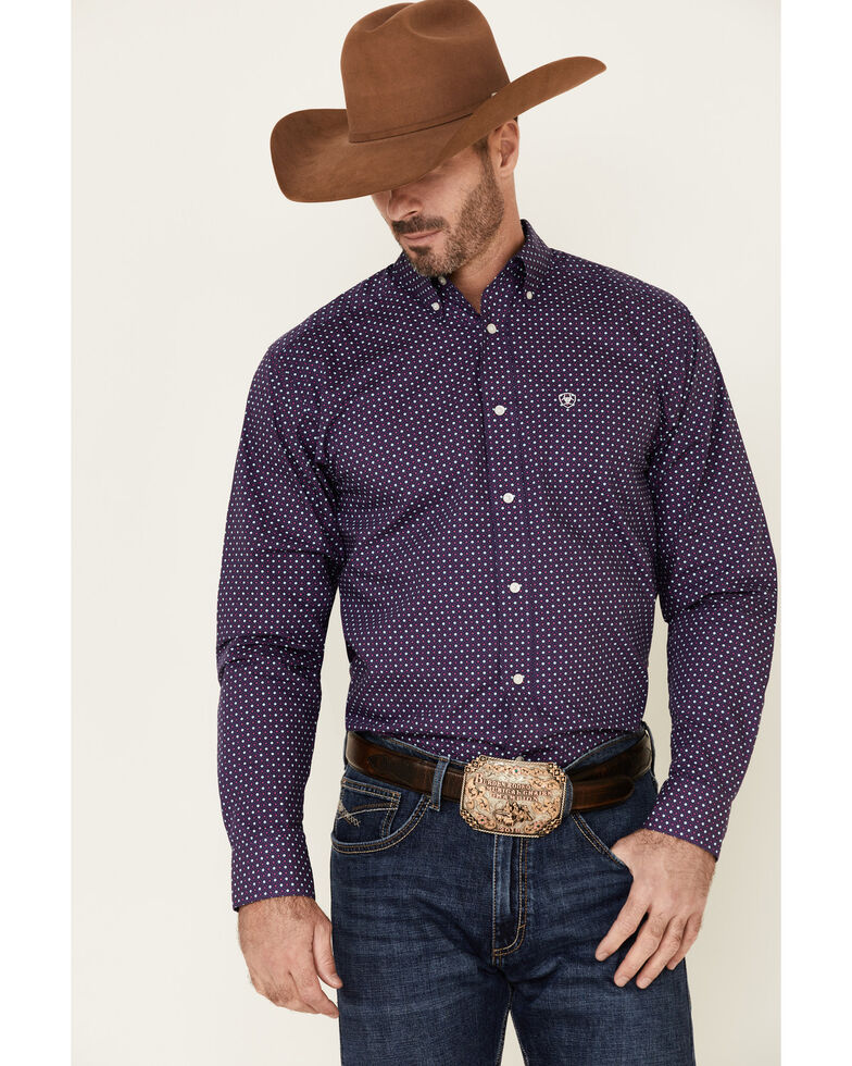 Ariat Men's Henry Geo Print Fitted Long Sleeve Western Shirt , Blue, hi-res