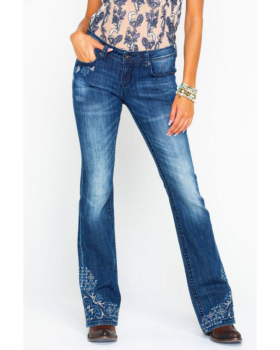 Grace In LA Women's Medium Low Rise Boot Jeans , Blue, hi-res