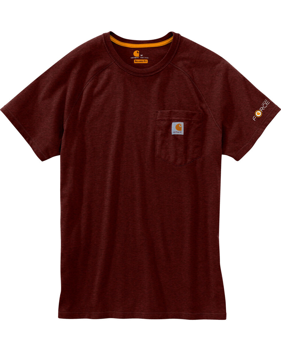 Carhartt Force Men's Cotton Delmont Short-Sleeve T-Shirt, Dark Red, hi-res