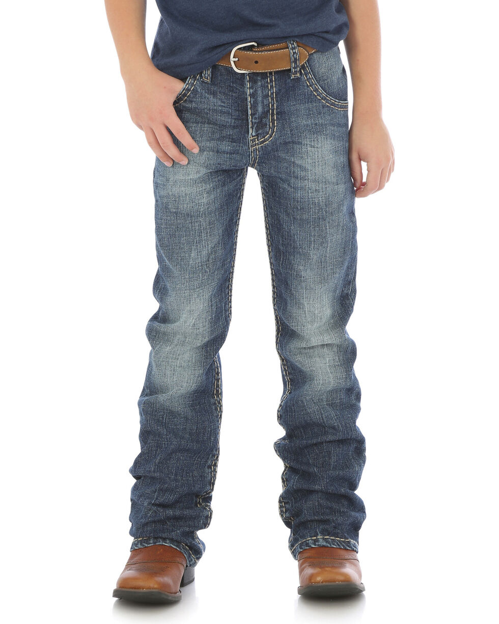 Rock 47 by Wrangler Boys' (8-16) Slim Fit Boot Cut Jeans, Indigo, hi-res