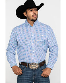 George Strait by Wrangler Men's Light Turquoise Geo Print Long Sleeve Western Shirt , Turquoise, hi-res