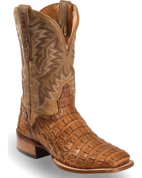 El Dorado Men's Caiman Back Apache Stockman Boots - Square Toe, Brown, hi-res