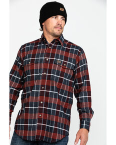 Wrangler Riggs Men's Hooded Flannel Work Jacket , Red, hi-res