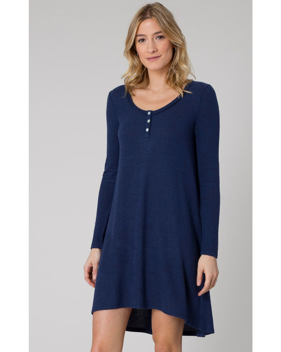 Z Supply Women's Black Iris Marled Navy Sweater Dress , Black, hi-res