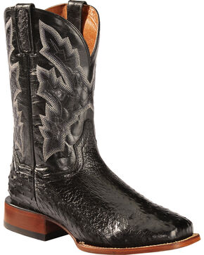 Dan Post Black Quilled Ostrich Cowboy Boots - Square Toe, Black, hi-res