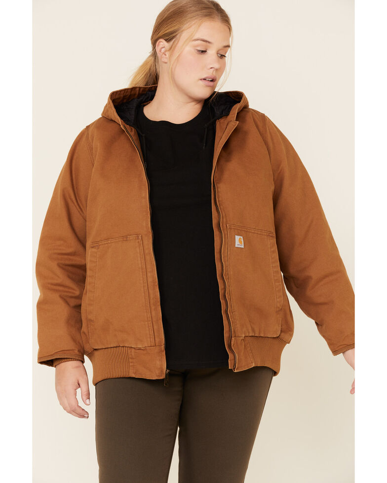 Carhartt Women's Brown Washed Duck Active Jacket - Plus , Brown, hi-res