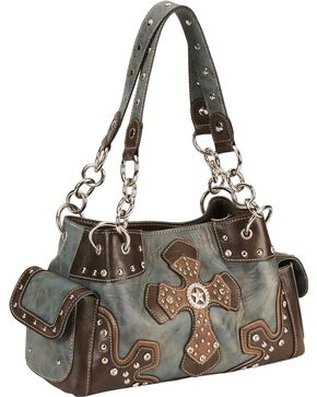 M&F Women's Blazin Roxx Stud and Cross Handbag, Blue, hi-res