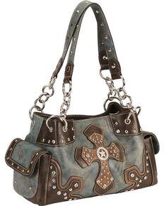 M F Womens Blazin Ro Stud And Cross Handbag Blue Hi Res