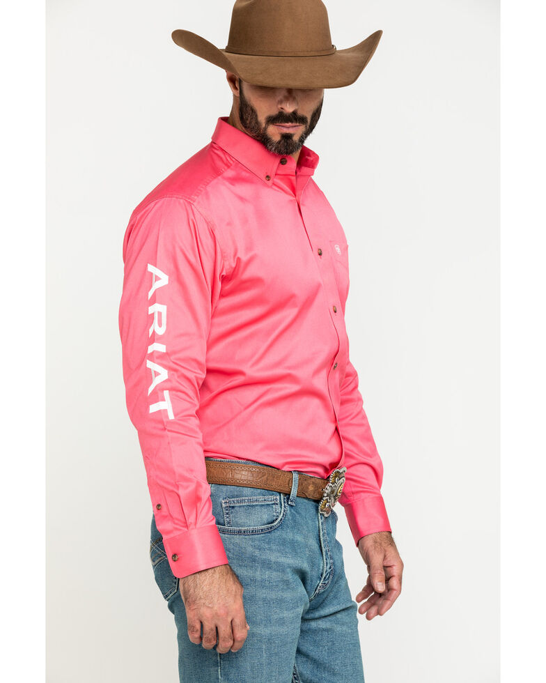 Ariat Men's Rose Team Logo Twill Long Sleeve Western Shirt - Big , Pink, hi-res