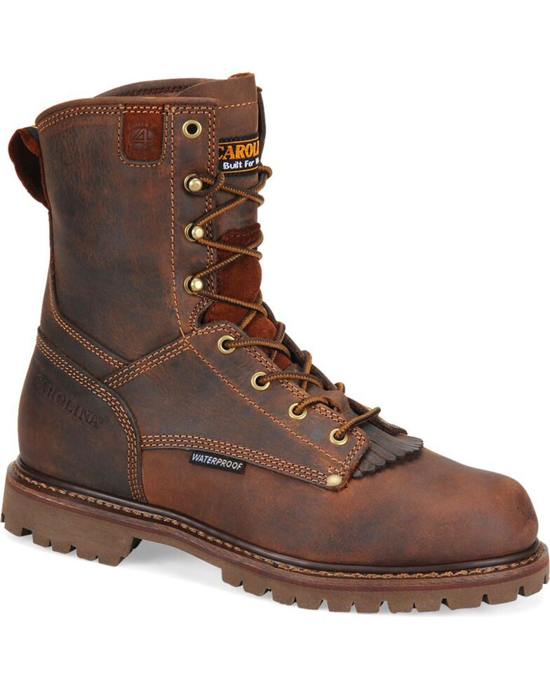 "Carolina Men's 8"" Waterproof Work Boots, Brown, hi-res"