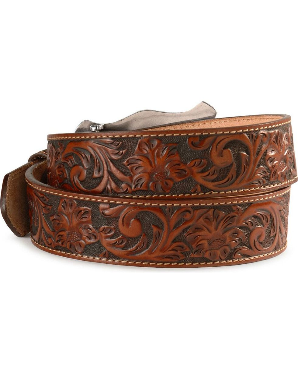 Justin Men's Floral Tooled Leather Belt, Tan, hi-res