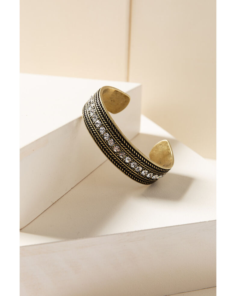 Shyanne Women's Gilded Gold Bling Cuff, Gold, hi-res
