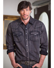Ryan Michael Men's Black Denim Shirt , Black, hi-res