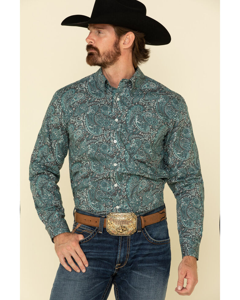 Cinch Men's Modern Fit Charcoal Paisley Print Long Sleeve Western Shirt , Charcoal, hi-res