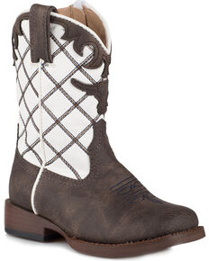 Roper Toddler Boys' Steerhead Cowboy Boots - Square Toe, Brown, hi-res