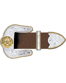 Montana Silversmiths Texas Star Silver Engraved Gold Trim 3-Piece Belt Buckle Set, Multi, hi-res