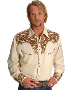 Scully Gunfighter Heavily Embroidered Retro Western Shirt, Natural, hi-res