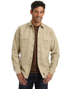 Wrangler Retro Men's Tan Solid Long Sleeve Western Shirt , Tan, hi-res