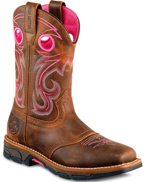 Red Wing Irish Setter Marshall Pink Work Boots - Steel Toe , Brown, hi-res