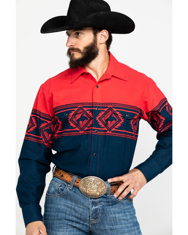 Panhandle Men's Aztec Cowboy Border Print Long Sleeve Western Shirt , Red, hi-res