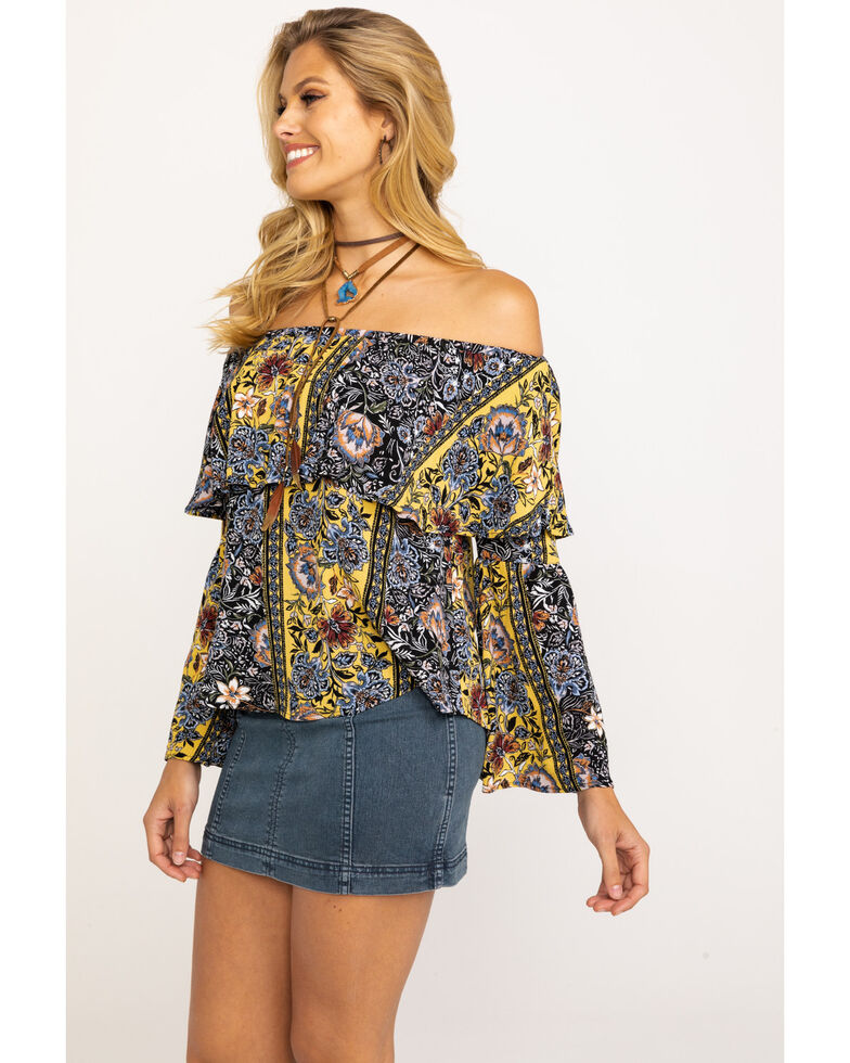 Shyanne Women's Mustard Floral Off The Shoulder Top , Dark Yellow, hi-res