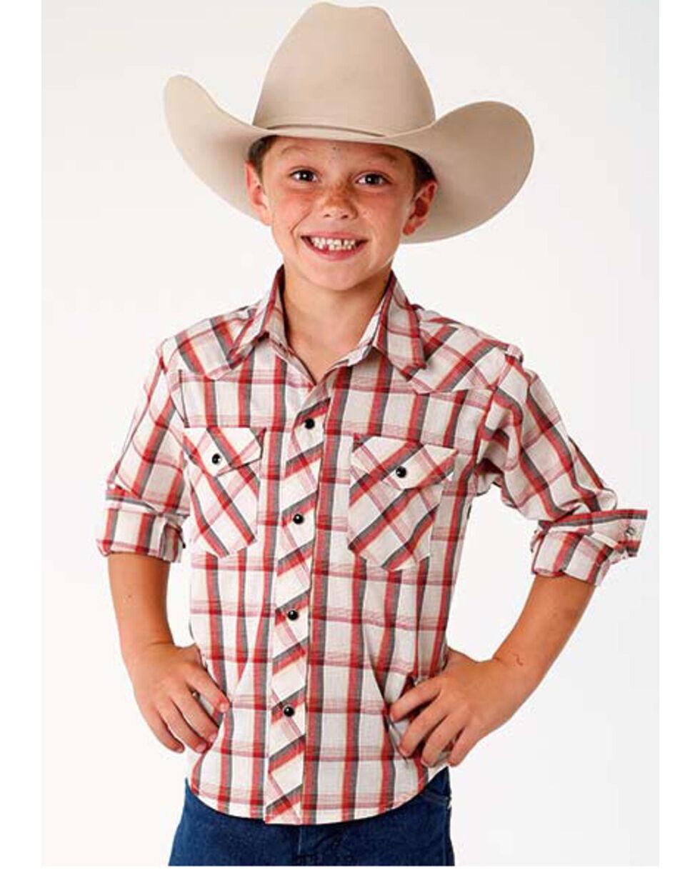 Roper Boys' Red Plaid Long Sleeve Western Shirt , Red, hi-res